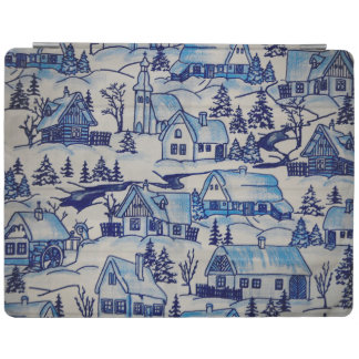 Vintage Blue Christmas Holiday Village iPad Cover