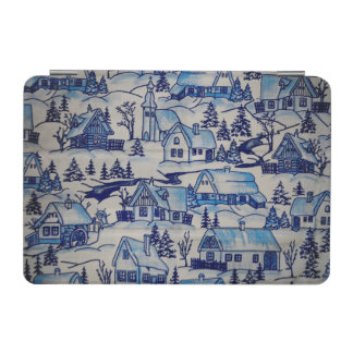 Vintage Blue Christmas Holiday Village iPad Mini Cover