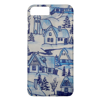 Vintage Blue Christmas Holiday Village iPhone 8 Plus/7 Plus Case