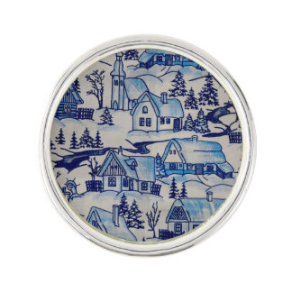 Vintage Blue Christmas Holiday Village Lapel Pin