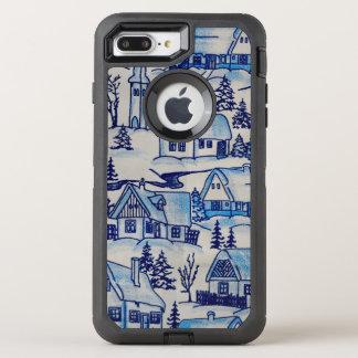 Vintage Blue Christmas Holiday Village OtterBox Defender iPhone 8 Plus/7 Plus Case