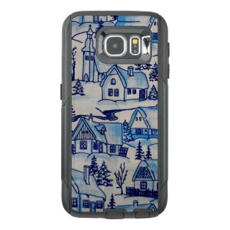 Vintage Blue Christmas Holiday Village OtterBox Samsung Galaxy S6 Case