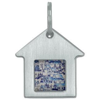 Vintage Blue Christmas Holiday Village Pet ID Tag