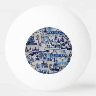 Vintage Blue Christmas Holiday Village Ping Pong Ball