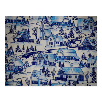 Vintage Blue Christmas Holiday Village Postcard