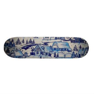 Vintage Blue Christmas Holiday Village Skate Board