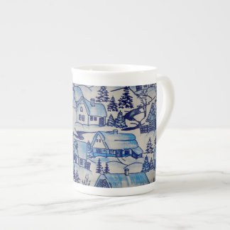 Vintage Blue Christmas Holiday Village Tea Cup