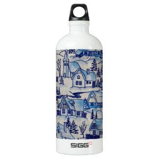 Vintage Blue Christmas Holiday Village Water Bottle