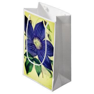 Vintage blue clematis flower gift bag