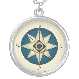 Vintage Blue Compass Gold Necklace