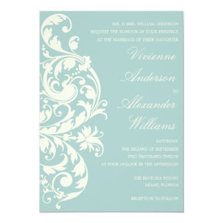 VINTAGE BLUE & CREAM FLOURISH | WEDDING INVITATION