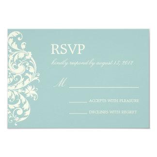 VINTAGE BLUE & CREAM FLOURISH | WEDDING RSVP 9 CM X 13 CM INVITATION CARD