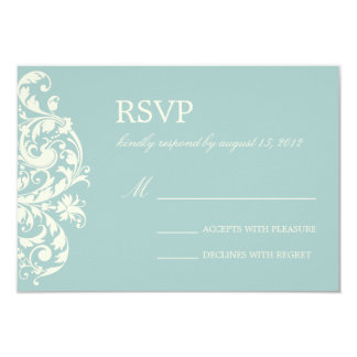 VINTAGE BLUE & CREAM FLOURISH | WEDDING RSVP CARD