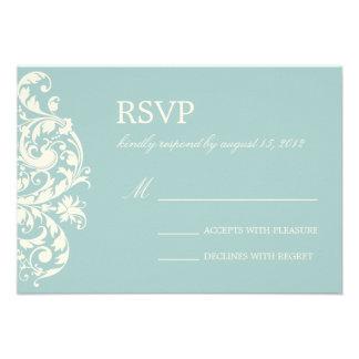 VINTAGE BLUE CREAM FLOURISH WEDDING RSVP PERSONALIZED INVITE