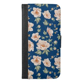 Vintage blue creamy spring flower pattern