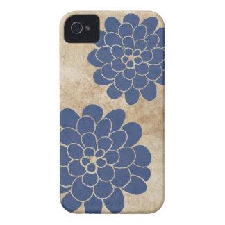 Vintage Blue Dahlia Floral Wedding iPhone 4 Cover