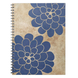 Vintage Blue Dahlia Floral Wedding Notebooks