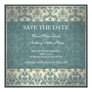 Vintage blue damask save the date card
