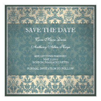 Vintage blue damask save the date card custom invite
