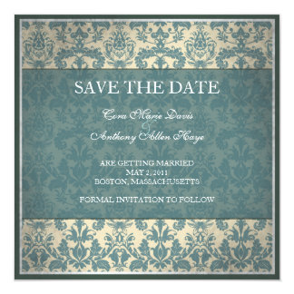 "Vintage blue damask save the date card 5.25"" square invitation card"