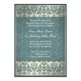 Vintage Blue Damask Wedding Invitation