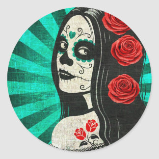 Vintage Blue Day of the Dead Girl Round Stickers