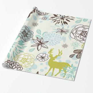 Vintage Blue Deer Wrapping Paper