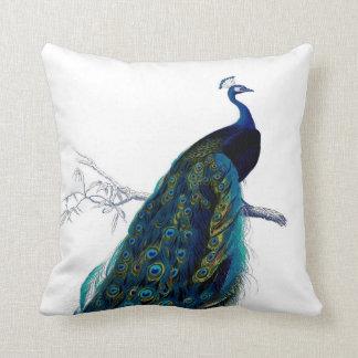 Vintage Blue Elegant Colorful Peacock Throw Cushions