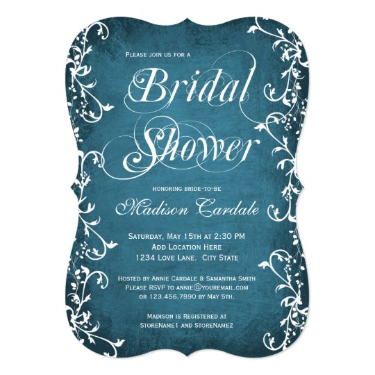 Vintage Blue Elegant Flourish Bridal Shower Invite