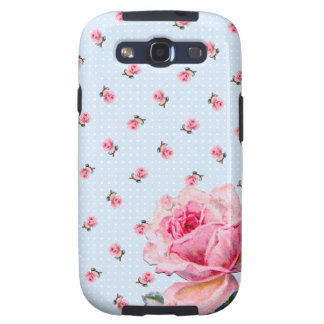 Vintage blue floral and dots galaxy SIII cover