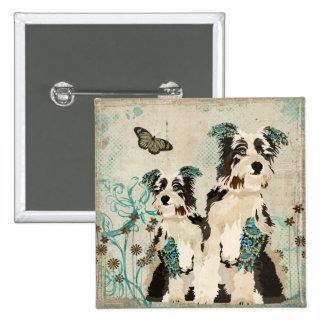 Vintage Blue Floral Dogs Button