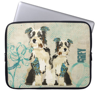 Vintage Blue Floral Dogs  Computer Sleeve
