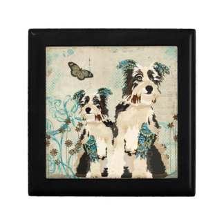 Vintage Blue Floral Dogs  Gift Box