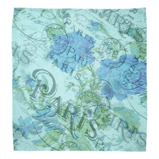 Vintage Blue Floral French Paris Postmark Pattern Bandana