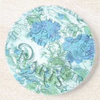 Vintage Blue Floral French Paris Postmark Pattern Coaster