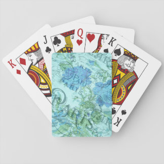 Vintage Blue Floral French Paris Postmark Pattern Playing Cards