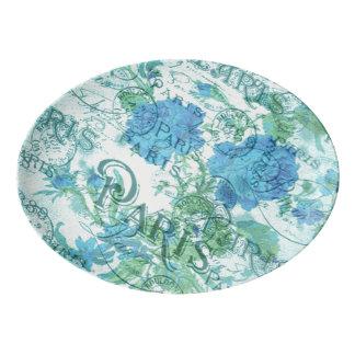 Vintage Blue Floral French Paris Postmark Pattern Porcelain Serving Platter