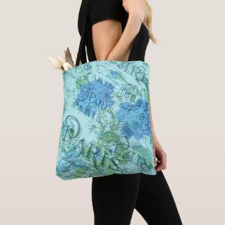 Vintage Blue Floral French Paris Postmark Pattern Tote Bag