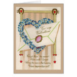 Vintage Blue Floral Heart Valentines Day Greeting Card
