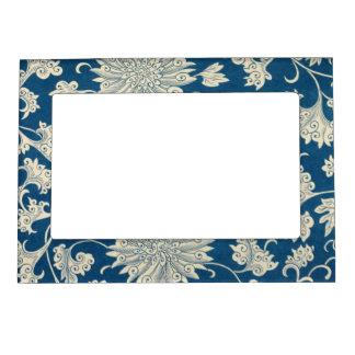 Vintage Blue Floral Pattern Magnetic Picture Frame