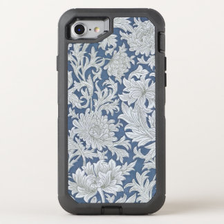 Vintage Blue Floral Pattern OtterBox Defender iPhone 7 Case