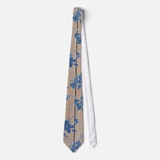 Vintage Blue Floral Pattern Tie
