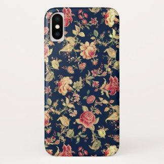 Vintage Blue Floral Rose iPhone X Case
