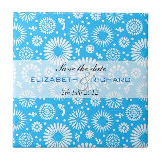 Vintage blue floral Save the date Tile