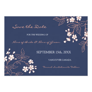 Vintage Blue Floral Wedding Save the Date Cards