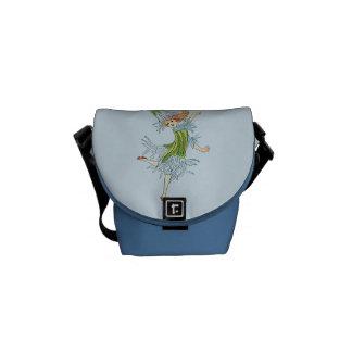 Vintage Blue Flower Fairy Graphic Messenger Bag