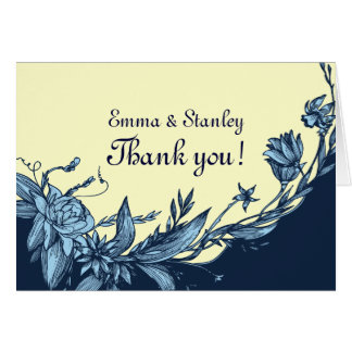Vintage blue flowers pale yellow Thank You card
