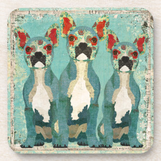 Vintage Blue French Bulldogs Coaster