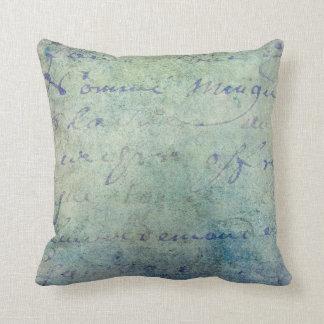 Vintage Blue French Script Parchment Paper Cushion