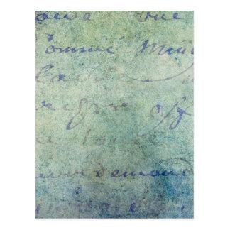 Vintage Blue French Script Parchment Paper Postcard